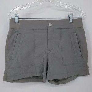 Athleta 6 Gray Shorts Button Zip Close Elastic